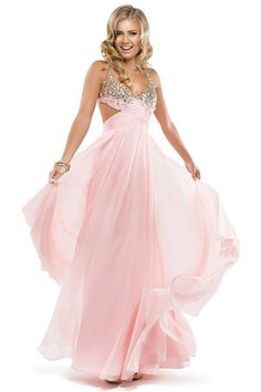 2014 Sexy&Cute Halter Beaded Bust Twist Straps Back Chiffon Floor Length Prom Dress Ruffled