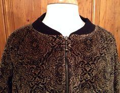 Vintage Brocade Print 80s Bomber Jacket//Brown and Black//Lizsport//wms L