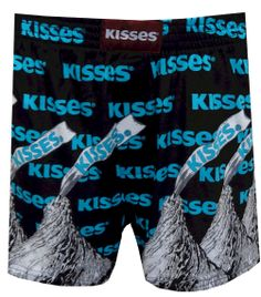 Hershey's Classic Kisses Black Boxer Shorts  Time for a little treat! These boxer shorts feature Hershey's Registered Trademark logo, foil wrapped kisses with signature paper plume and hearts on a black background. They are machine washable, have a covered elastic waistband and an open edge fly. $13.50