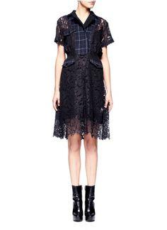 SACAI - Check flannel lace dress
