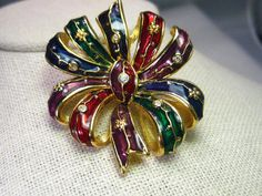 Vintage Joan Rivers Enameled Gem Tone Colored Bow by stampshopgirl