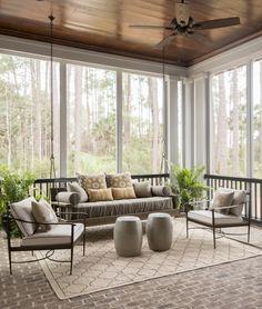 Love the brick floor on this porch!  #screenedporch homechanneltv.com