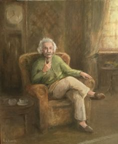 Albert Einstein in a retrospective mood. x oil on canvas by Robert Lewi Booth. Albert Einstein Poster, Pictures To Paint, Ink Color, Churchill, Social, Biography, Famous People, Oil On Canvas, Joker