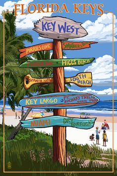 Key West, Florida - Destinations Sign (36x54 Giclee Gallery Print, Wall Decor Travel Poster) >>> Discover this special product, click the image : Kitchen Table Linens