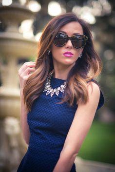 navy dress + statement necklace