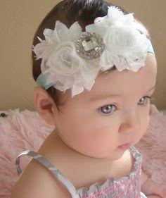 20% off entire order.. Baby headbands...White rosette rhinestone flower's on aqua headband, newborn headbands, infant, toddler, adult. $12.00, via Etsy.