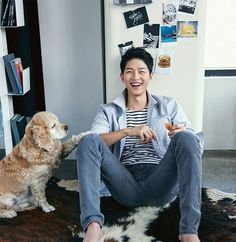 A lucky dog got to cuddle with Song Joong Ki for next month's issue of Marie Claire Korea … I want to be that dog. I want to be anything that Song Joong Ki uses as a prop. Park Hae Jin, Park Hyung, Park Seo Joon, Song Joong Ki, Song Hye Kyo, Asian Actors, Korean Actors, Korean Idols, Marie Claire
