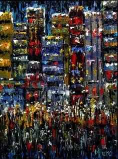 Cityscape Abstract art Street Scene painting paintings by Debra Hurd, painting by artist Debra Hurd