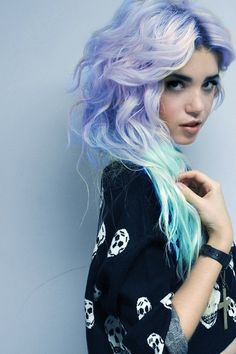 Periwinkle Hair with Blue ombre! I'd never be able to do this but it's lovely<3