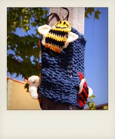 Yarnbombing captured in Polaroid style format. Love the creativity!