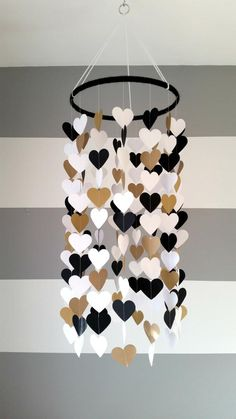 Baby room decor - Heart shape paper mobile Blackwhite and gold Baby room decoration Wedding decoration home decoration Child baby decor Baby Room Decor, Diy Bedroom Decor, Wall Decor, Room Baby, Child Room, Baby Bedroom, Wall Art, Nursery Decor, Diy Home Crafts