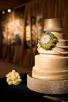 Crystal Couture Champagne Wedding Cake
