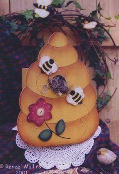Primitive Teddy Bear Bee Beehive Pillow Paper Pattern #332