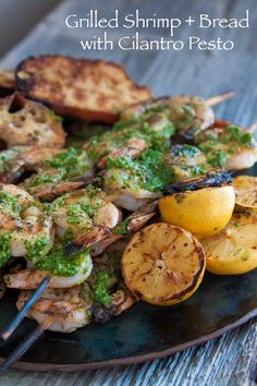 Grilled shrimp with cilantro pesto from What's Gaby Cooking
