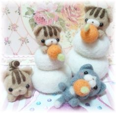 【Mille】Feltneedle wool needle felt felting felted woolfelt cats tabby neko kawaii kitty