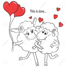 Couple in love Cartoon Two cute enamored sheep with red hearts on a swing Idea for greeting card with Happy Wedding or Valentines Day Vector doodle illustration Couple In Love, Valentines Day Drawing, This Is Love, Free Vector Graphics, Free Illustrations, Sheep, Disney, Cartoons, Doodles