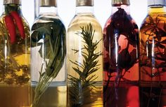 Infused Olive Oils ~ use fresh herbs,  good olive oil. Wash the herbs, let them dry overnight. Choose an elegant glass bottle with a good seal, and wash and dry thoroughly. Bruise your herbs gently to start to expose their oils and put them in your olive oil jar. Cover the ingredients with olive oil, seal the bottle, and let it sit in a cool, dark place for 1-2 weeks before using it. The oil will slowly infuse over this time. Do a taste test every so often so see how its coming along.