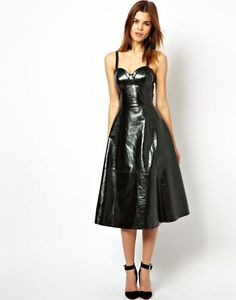 ASOS Metallic Leather Midi Skater Dress