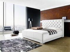 polsterbett bett doppelbett tagesbett barcelona 180x200 cm weiss - Bett Backboard Ideen