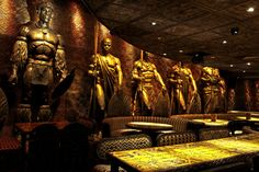 With its row of warrior statues and opulent interior, Shaka Zulu (London) boasts a visually splendid atmosphere.