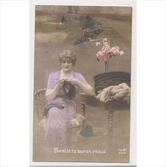 AI35 Glamour - Lady knitting for soldiers - WWI on eBid United Kingdom
