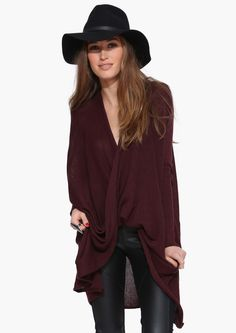 Knit Cross Over Sweater in Burgundy