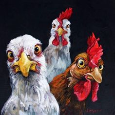 You got the wrong cluckin neighborhood homie - Vögel - kunst Rooster Painting, Rooster Art, Animal Paintings, Animal Drawings, Art Drawings, Chicken Painting, Chicken Art, Pollo Animal, Fuchs Illustration