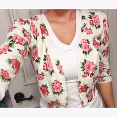Forever 21 Rose Cardigan SO CUTE, wouldn't normally sell but need $. Size small, great fit, no signs of wear. Forever 21 Sweaters Cardigans