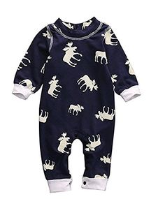 Newborn Baby Girl Boy Dont Moose With Me Letter Printed Long Sleeve Romper Jumpsuit Pajamas Outfits 018m 7003months Navy >>> Check out this great product.Note:It is affiliate link to Amazon.