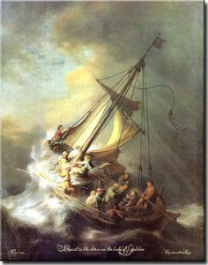 Christ in the Storm on the Lake of Galilee, Rembrandt on Acrylic Wall Art Decor Picture, Ready to Hang!.