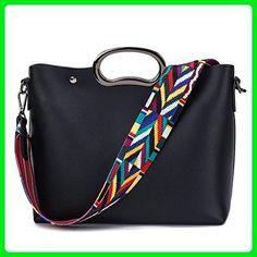 Sugarwewe Women Shoulder Bag With Interior Pocket Colorful Strap Large Capacity Black One size - Shoulder bags (*Amazon Partner-Link)