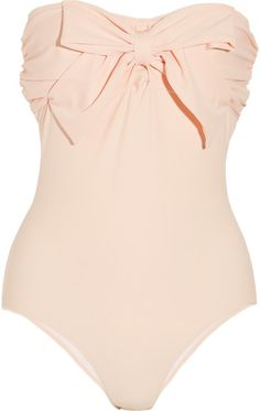 Sugar-pink stretch-nylon Bow embellishment at bust, ruched sides, draped panel at back, fully lined Slips on 80% nylon, 20% elastane; lining: 90% nylon, 10% elastane Hand wash Designer color: Apricot