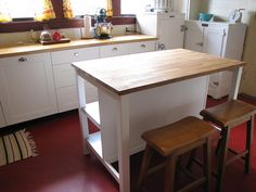 ikea freestanding kitchen island bench-breakfast bar -oak top