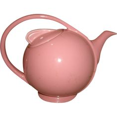 I love the shape and handle--so interesting to look at! Vintage Art Deco HALL CHINA Airflow Teapot ~ PINK Hall Teapot Model 3111