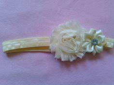 Ivory Baby Girl Flower Jewel Elastic Headband Photo Prop USA SELLER