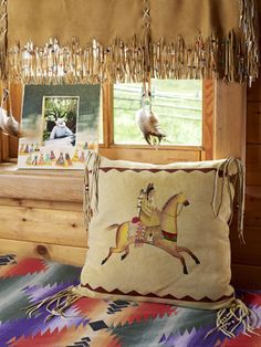 Love the deer skin valance and pillow