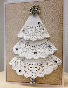 Sparkly doily Christmas tree card from Paradise Scrapbook Boutique's Holiday Gi. Sparkly doily Christmas tree card from Paradise Scrapbook Boutique's Holiday Gift Workshop, in C Chrismas Cards, Christmas Card Crafts, Homemade Christmas Cards, Christmas Cards To Make, Christmas Projects, Kids Christmas, Handmade Christmas, Christmas Ornaments, Snowflake Ornaments