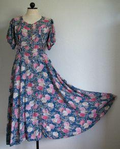 SOLD!!! Venetti Button Front Romantic Floral Boho Hippie Peasant Dress- M, SOLD!!!