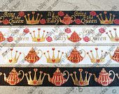 """7/8"""" Queen of Hearts - Teapot Prints   -  - US Designer Printed Ribbon - 1yd, 3yd or 5 yd - Alice inspired - gold foil"""
