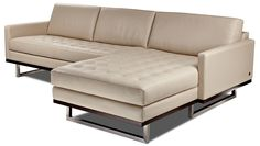 American Leather - The tufted Tristan sofa and sectional with chrome legs and a thin square arm.