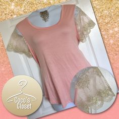 Lace sleeved hi-lo t-shirt This gorgeous hi-lo t-shirt is in a beautiful blush color, & features cream and gold lace sleeves. Any woman would feel feminine in this lovely top! 95% Rayon / 5% Spandex. Measurements available upon request. M.m. Tops Tees - Short Sleeve