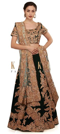 Dark bottle green lehenga and blouse featuring in velvet. Kali and bodice are embellished in zari further enhanced in kundan work. Indian Look, Indian Wear, Green Lehenga, Traditional Fashion, Party Wear Dresses, Indian Fashion, Bodice, Textiles, Saree