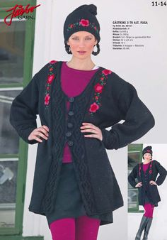 Hat and cardigan with a beautiful flower pattern.