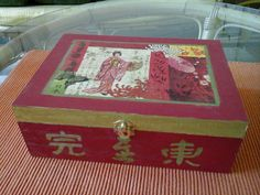 Nice decoupage red and gold painted wood teabox with japanise decoration. It has 6 sections. Could be a nice gift. by DoriansSanctuary on Etsy