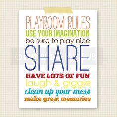 Playroom Rules Art Print  Kids Room Art  Baby by BabyBirdandBubBub, $15.00