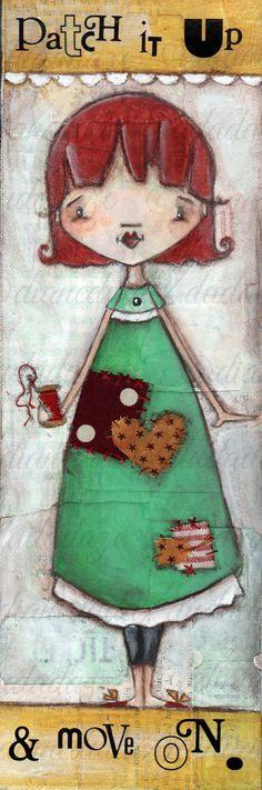 Original Folk Art Mixed Media Painting Patch It by DUDADAZE, $60.00 ©dianeduda/dudadze