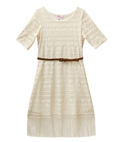 Look what I found on #zulily! Ivory Geometric Fringe-Hem Belted Dress - Kids #zulilyfinds