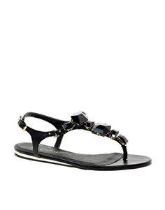 ALDO Kallole Black Jewelled Toepost Sandals