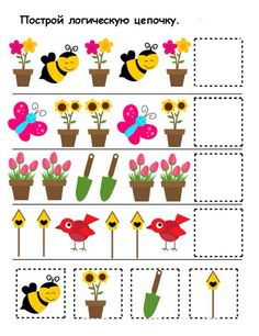Spring Activities for Kids Cognitive Activities, Preschool Learning Activities, Spring Activities, Preschool Worksheets, Toddler Activities, Preschool Activities, Flashcards For Toddlers, Pattern Worksheet, Math Patterns
