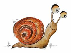 Weinbergschnecke as logo: The snail as a trademark Painting For Kids, Diy Painting, Painting & Drawing, Art For Kids, Watercolor Animals, Watercolor Cards, Doodle Art Designs, Cartoon Sketches, Happy Paintings